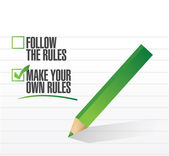 Make your own rules check of approval illustration — Stock Photo