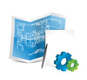 Industrial gear blueprints illustration design — Stock Photo
