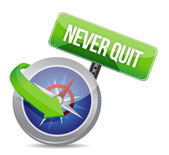 Never quit compass guide illustration design — Stock Photo