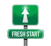 Fresh start road sign illustration design — Stock Photo