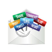 Envelope with social media signs illustration — Stock Photo