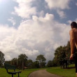 HD: man stretching outdoors - lunge — Stock Video #30472073