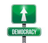 Democracy road sign illustration design — Stock Photo