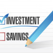 Investment over savings. checkmark illustration — Stock Photo