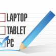Pc checkbox selected over other technology tools. — Stock Photo