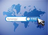 Synergy search world map illustration — Stock Photo