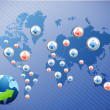 International social media network. illustration — Stock Photo