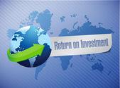 Roi, návratnost investic zeměkoule koncept — Stock fotografie