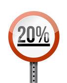 20 percentage road sign illustration design — Stock Photo