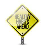 Sağlıklı alışkanlıkları yol işareti illüstrasyon tasarımı — Stok fotoğraf