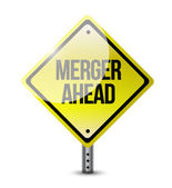 Merger ahead road sign illustration design — Stock Photo