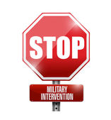Stop military intervention road sign — Stock Photo