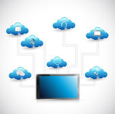 Tablet and cloud tools diagram illustration — Stock Photo