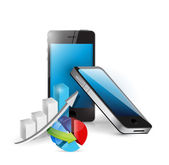 Smart phone and business graphs — Stock Photo