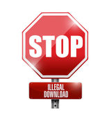 Stop illegal downloads road sign illustration — Stock Photo
