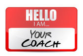 Hello I am your coach tag illustration design — Stock Photo