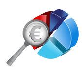 ユーロ円グラフ イラスト デザインを拡大します。 — ストック写真