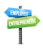 Employee, entrepreneur road sign — Stock Photo