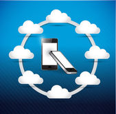 Set of phones cloud computing network diagram — 图库照片