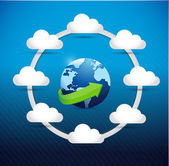 Globe cloud computing network diagram concept — Stock Photo