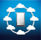 Smartphone cloud computing network diagram — Stock Photo
