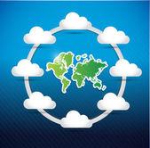 世界地図のクラウドコンピューティング ネットワーク図 — ストック写真