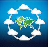 World map cloud computing network diagram — 图库照片