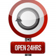 Stock Photo: Open 24 hours road sign illustration design