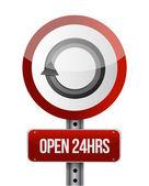 Open 24 hours road sign illustration design — Stock Photo