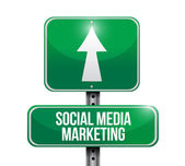 Social media marketing road sign illustration — Stock Photo