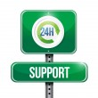 24 hour support road sign illustration design — Stock Photo #32501173