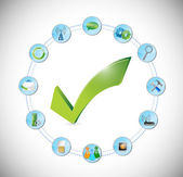 Tool working perfect concept. check mark approval — Stock Photo