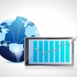 Globe network and tablet business graph — Stock Photo #32604305