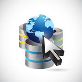 Server network cursor, and globe illustration — Stock Photo