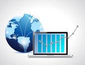 Graphique de globe réseau et l'ordinateur portable d'entreprise — Photo