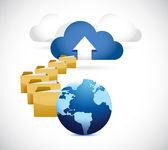 Globe uploading info to cloud. cloud computing — Stock Photo