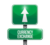 Currency exchange road sign illustration — Stock Photo