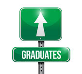 Graduates road sign illustration design — Stock Photo