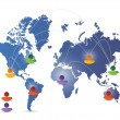 World map social media network illustration — Stock Photo