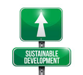 Sustainable development road sign illustration — Stock Photo