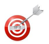 Top tien target en dart illustratie — Stockfoto