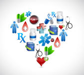 Heart medical icons illustration design graphics — Stock Photo
