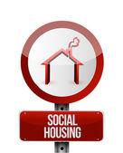 Social housing road sign illustration design — Stock Photo