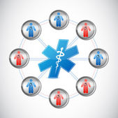 Medical doctors network connected — Stock Photo
