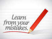 Uczyć się od błędów napisał wiadomość — Zdjęcie stockowe