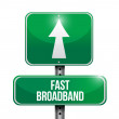 Fast broadband road sign illustrations design — Stock Photo