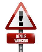 Genius working road sign illustration design — Stock Photo