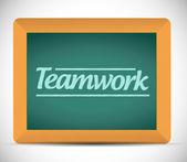 Teamwork message written on a chalkboard — Stock Photo