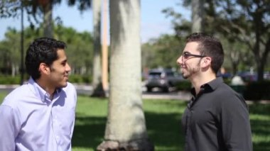 Two businessmen chat outdoors. colleagues friendly discussion — Stock Video