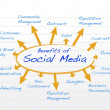 Social media benefits diagram model illustration — Foto Stock